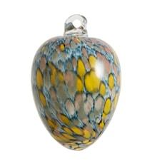 Glassegg hengende Ø 8 cm - Blå/gul