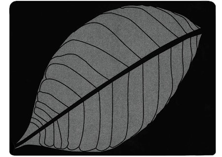 Dækkeserviet - m. blad - Gummi - Sort - Sølv - H 0,5cm - L 40,0cm - B 30,0cm