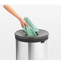 Pyykkikori tummanharmaalla muovi kannella 60 L Mattaharjattua terästä