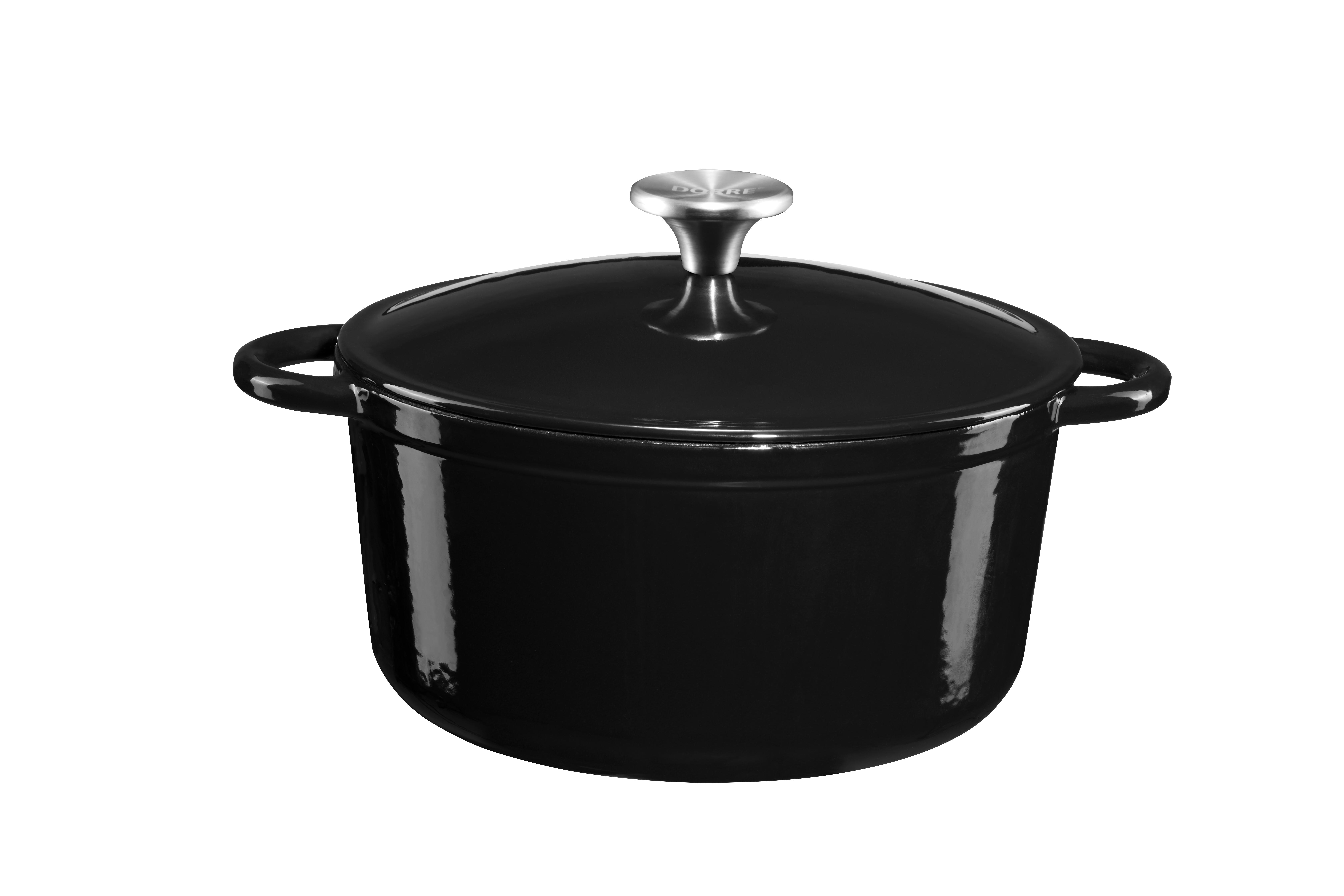 Gretl Gjutjärnsgryta rund svart emalj knopp rostfirtt stål 4 liter