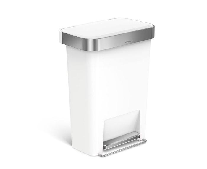 Pedalspand Rektangulær Plast 45 liter Hvid
