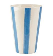 Vase - m. striber - Dolomite - Ocean blå - Creme - D 17,0cm - H 25,0cm - Stk.